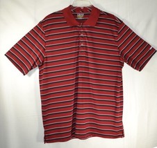 IZOD Men's Polo GOLF Perform X T-Shirt Striped Burgundy Polyester Shirt ... - $9.89