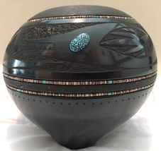 San Ildefonso Black Avanyu Pottery Bowl Turquoise Inlaid Heishi RUSSELL ... - $6,850.00