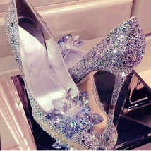 pp155 Chic crystal pump with crystal follower top, US Size 4-8.5, silver - $88.80