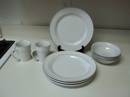 Gibson Everyday Stoneware ~ White with Silver Rings ~ 10 Piece Set Plates Bowls - $69.29