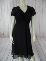 SANGRIA Petite Dress 4P Black Sheer Nylon Overlay Skirt Poly Lining Plea... - $41.58