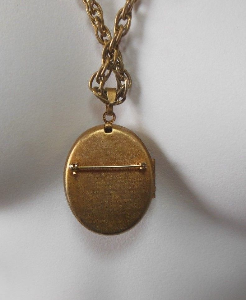 Vintage Avon Perfume Locket Necklace/Brooch W/Amber Colored Center