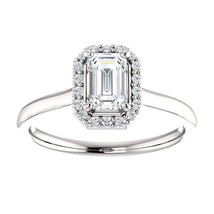 0.75 Carat Emerald Cut Diamond Solitaire Halo Ring in 14k Gold  - $1,599.00
