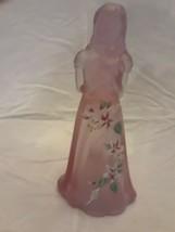 FENTON ART GLASS  Pink Little Sister GIRL FIGURINE w/ Teddy Bear - $58.04