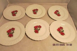 Johnson Brothers Christmas Bread Butter Plates Pointsettas Birds Ironstone - $20.56