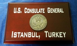 "US Consulate General Istanbul, Turkey Cherry Wood 4"" x 6""x .75"" Sign MAD... - $34.65"