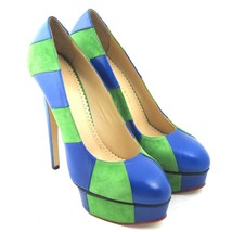 K-CO5320 New Charlotte Olympia Dolly Suede Pumps Wedge Platform Size 39.... - $309.99