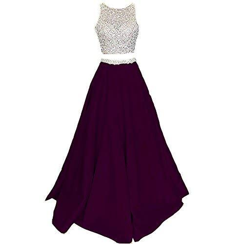Primary image for Lemai Bateau Beaded 2 Pieces Sheer Long Open Back Prom Evening Dress Dark Plum U