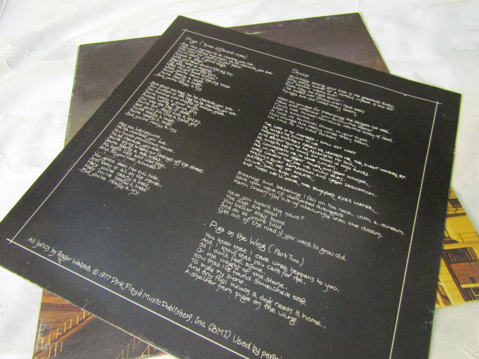 Pink Floyd Animals Columbia JC 34474 Stereo Record LP
