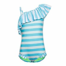 DAYU Girl's Bright Color Stripes Ruffle One Piece Swimsuit Beach Wear - $17.06