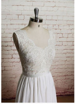 Charming White Chiffon Wedding Dress Bridal Dresses with Lace - $229.99