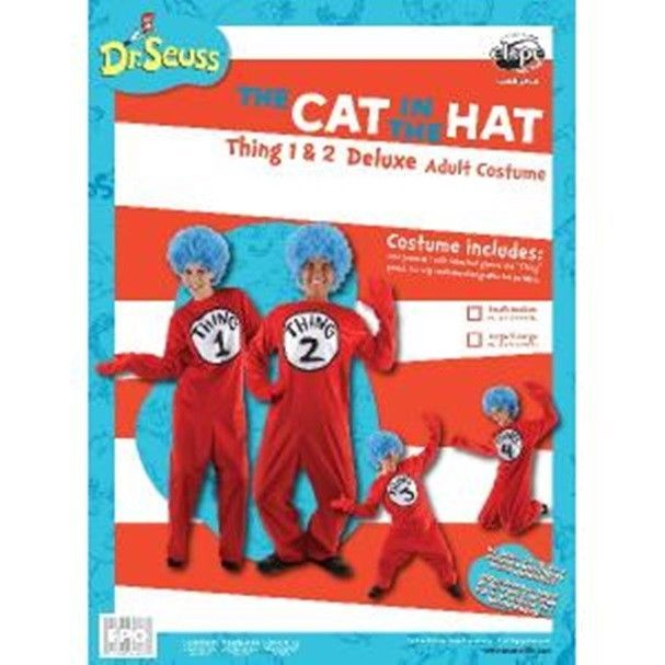 Dr. Seuss The Cat In The Hat Things Deluxe Adult Costume Kit Small/Medium SEALED
