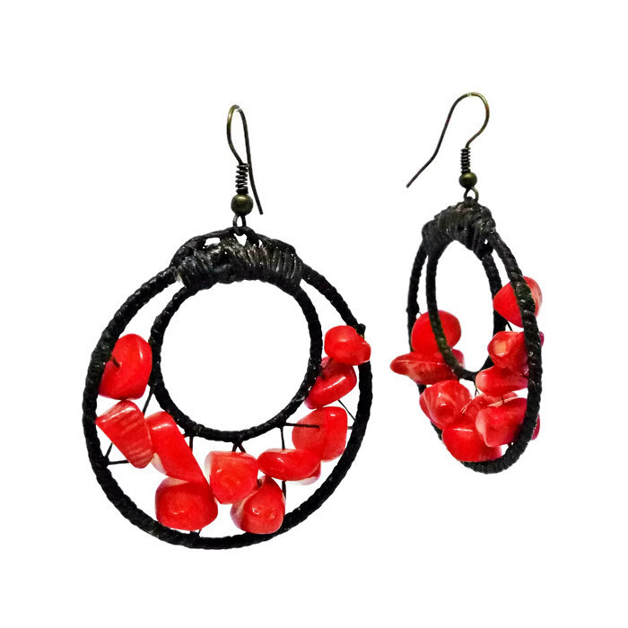 Red Hook Dangle Earrings Stone& Beads& Rope& Brass