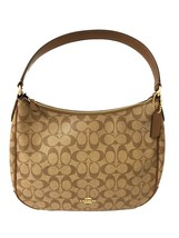 COACH Zip Shoulder Bag in Signature Canvas in Khaki Saddle 2 F29209 - $106.90