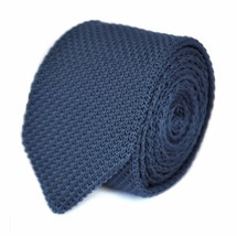Frederick Thomas navy blue knitted wool tie & pointed end in classic 8cm width
