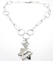Halskette Silber 925, Kette Kreise, Doppelt Blume, Sonne Anhänger, Satin image 1