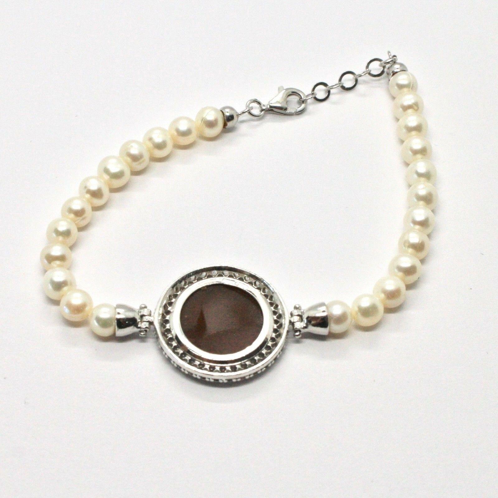 Armband 925 Silber mit Perlen Wasser Dolce Kamee Kamee Zirkonia Kubische image 5