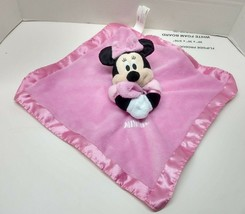 Disney Baby Minnie Mouse Holding Pink Security Blanket Lovey Rattle Knit Satin  - $13.45