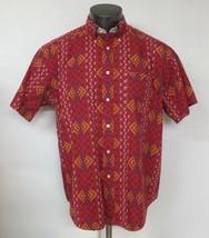 Tommy Hilfiger Short Sleeve Button Front Multicolored medium M Geometric shirt - $19.79
