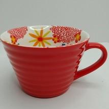 Starbucks Red Ribbed Coffee Mug with Flowers 12 oz - $17.82