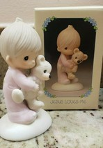 1978 JESUS LOVES ME Precious Moments figurine No. E-1372/B Boy and Teddy... - $14.85