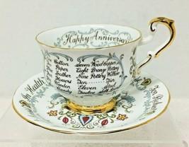 OLDER Paragon Happy Anniversary Cup Saucer Richer Poorer Gift List  - $36.14