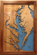 Chesapeake Bay, MD & VA - Wood Laser Cut Map - Wall Hanging - $274.99+