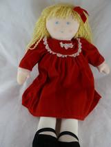"""Vintage Eden Toys 17"""" Cloth Doll blonde hair Red velveteen dress Rare ha... - $34.05"""