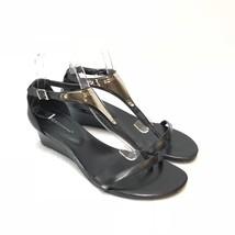 6ab17b8fc59 BCBGeneration Women  39 s T-Strap Sandals Wedges Black Leather Size 10M -