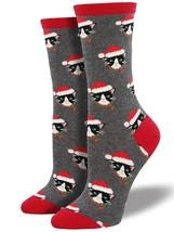 Socksmith Womens Santa Cats Crew Socks Heather Grey One Size - NWT - $4.65
