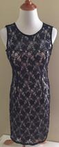Adrianna Papell Evening Lace Beaded Sequin Overlay Sheath Dress sz 6 - $31.67