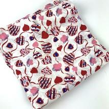 Vtg Fabric Valentine Hearts Love Cotton 2 1/2 Yd Craft Sew   - $29.69