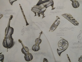 1/2 yd Music/instruments on ivory quilt fabric -free shipping