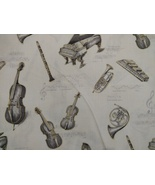1/2 yd Music/instruments on ivory quilt fabric -free shipping - $8.99