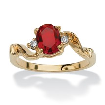 Birthstone Crystal 14k Yellow Gold-Plated Ring-July-Simulated Ruby - $9.06