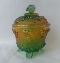 Emerald Green Amber Glass Bowl Candy Dish with Lid Footed Jeanette - $15.83