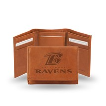 Baltimore Ravens Wallet Embossed Trifold Official NFL RICO Leather Brown - $26.99
