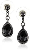 1928 Jewelry Black Victorian Inspired Petite Teardrop Earrings - $30.42