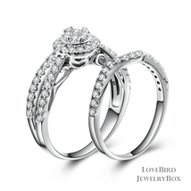 Cluster Halo Infinity 925 Sterling Silver Cubic Zirconia Engagement Ring Set - $53.84