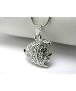 Crystal Stud Tropical Fish Charm Silver Pendant... - $10.00
