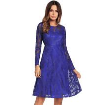 AOVEI Blue Lace Long Sleeve Flared A Line Beach Party Cocktail Pleated Dress - $29.99