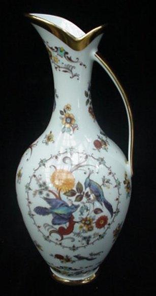 Vintage KPM Bavaria Pottery Ewer Pitcher w/Birds & Flowers