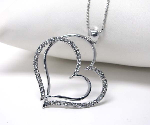 Crystal Stud Double Heart Silver Pendant Necklace