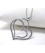 Crystal Stud Double Heart Silver Pendant Necklace - $10.00