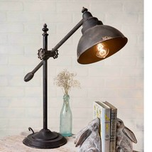 Country new distressed tin Adjustable swing arm desk lamp  - $97.35