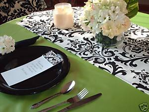 "Damask Table Runner Wedding Black White 96"" Traditions"