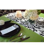 "Damask Table Runner Wedding Black White 96"" Traditions - $17.99"