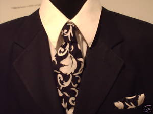 Damask Necktie Set Men Tie Scroll Black White Wedding