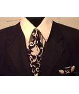 Damask Necktie Set Men Tie Scroll Black White Wedding  - $27.95