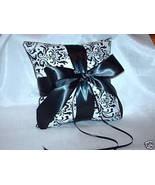 Black White Damask Madison RingBearer Pillow Ring Black - $24.95